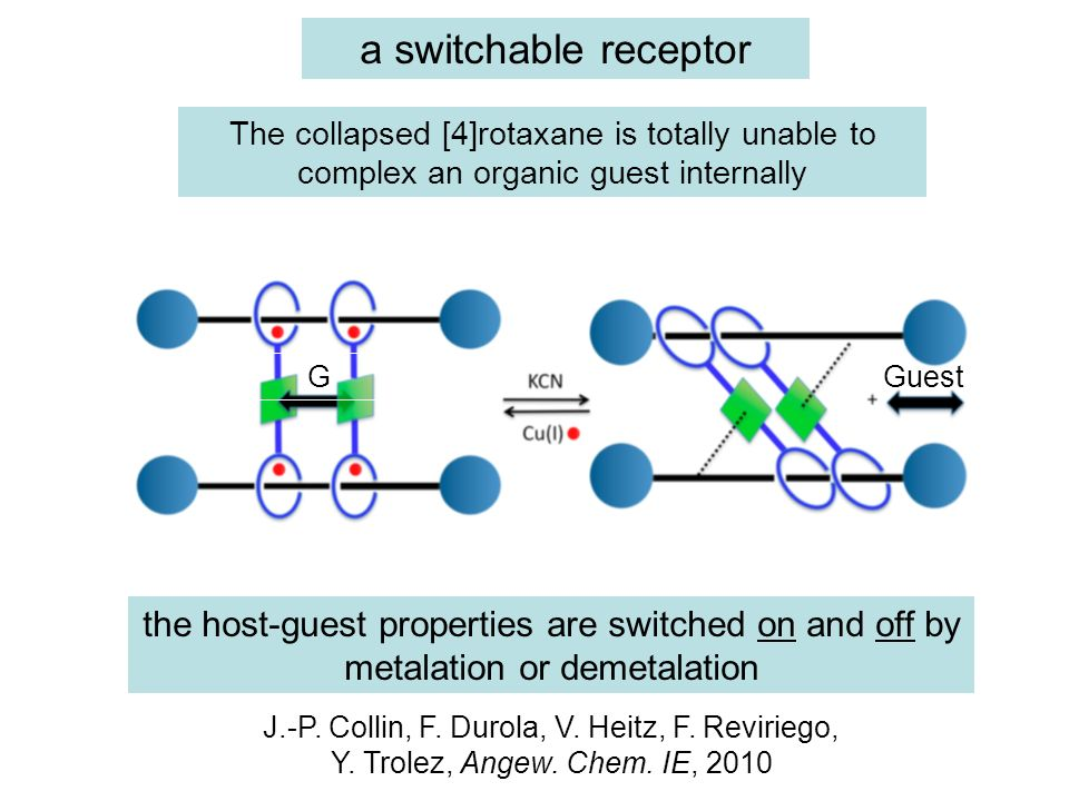 a switchable receptor The collapsed [4]rotaxane is totally unable to complex an organic guest internally.